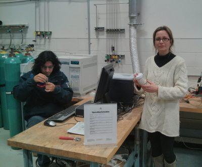 Dr. Ioulia Valla (right), graduate student Ameya P. Akkalkotkar with Professor George Bollas' group (left)