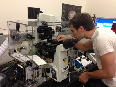 Photo of Erik working in the lab